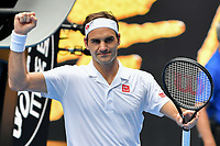 January 16, 2019: 3rd seed Roger Federer of Switzerland celebrates his win in the second round match against Daniel Evans of the United Kingdom on day three of the 2019 Australian Open Grand Slam tennis tournament in Melbourne, Australia. Federer won 76 76 63. Photo Sydney Low
