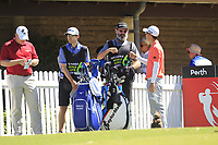 Jazz Janewattananond (THA) and his caddy Nick Pugh in action on the 1st during Round 3 of the ISPS Handa World Super 6 Perth at Lake Karrinyup Country Club on the Saturday 10th February 2018.<br /> Picture:  Thos Caffrey / www.golffile.ie<br /> <br /> All photo usage must carry mandatory copyright credit (&copy; Golffile | Thos Caffrey)