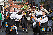London, UK. 10 May 2014. Pictured: Morris Men from Aldbury dancing in Gerrard Street/Chinatown. Morris Dance groups from all over England gathered in London and performed for the public during the Westminster Morris Men Day of Dance.