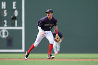 Shortstop Grant Williams (4) of the Greenville Drive plays defense in a game against the Delmarva Shorebirds on Friday, August 2, 2019, in the continuation of rain-shortened game begun August 1, at Fluor Field at the West End in Greenville, South Carolina. Delmarva won, 8-5. (Tom Priddy/Four Seam Images)