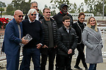 CERRITOS, CA  DECEMBER 07:  Doc Allred presents the winning trophy to Bob Baffert after #3 Thousand Words, ridden by Flavien Prat, wins the Los Alamitos Futurity (Grade ll) on December 7, 2019, at Los Alamitos Race Course in Cerritos, CA.  (Photo by Casey Phillips/Eclipse Sportswire/CSM)