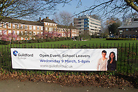 Banner advertising a college Open Event for prospective new students to look around, Further Education College, Guildford, Surrey, UK.