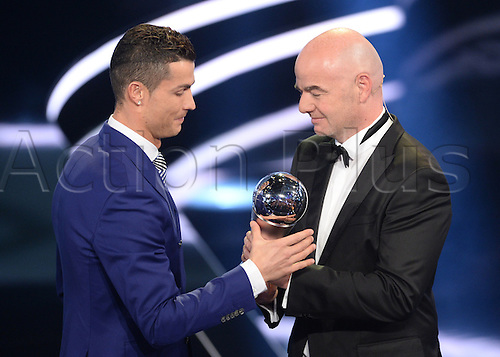 09.01.2017. Zurich, Switzerland.  Portuguese footballer Cristiano Ronaldo receives his FIFA World Player of the Year 2016 award from FIFA president Gianni Infantino (r), at the FIFA World Players of the Year 2016 gala in Zurich, Switzerland, 9 January 2017.