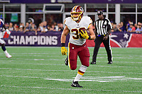 August 9, 2018: Washington Redskins running back Elijah Wellman (38) runs the ball up the field during the NFL pre-season football game between the Washington Redskins and the New England Patriots at Gillette Stadium, in Foxborough, Massachusetts. The Patriots defeat the Redskins 26-17.  Eric Canha/CSM