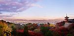Sanjunoto, Sanju-no-to pagoda, Kiyomizu-dera in Kyoto, beautiful panoramic view in colorful autumn sunrise morning scenery with Kyoto city skyline landscape in the background. Higashiyama, Kyoto, Japan 2017. Image © MaximImages, License at https://www.maximimages.com