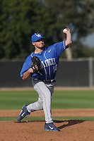 Ryne Combs (10) of the Kentucky Wildcats pitches during a game against the UC Santa Barbara Gauchos at Caesar Uyesaka Stadium on March 20, 2015 in Santa Barbara, California. UC Santa Barbara defeated Kentucky, 10-3. (Larry Goren/Four Seam Images)