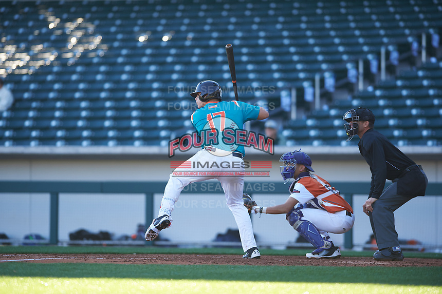 Victor Mederos(17) of Monsignor Edward Pace High School in Miami, Florida during the Baseball Factory All-America Pre-Season Tournament, powered by Under Armour, on January 13, 2018 at Sloan Park Complex in Mesa, Arizona.  (Zachary Lucy/Four Seam Images)