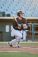 Stryker Trahan (18) of the Visalia Rawhide bats against the Lancaster JetHawks at The Hanger on July 6, 2016 in Lancaster, California. Lancaster defeated Visalia, 10-7. (Larry Goren/Four Seam Images)