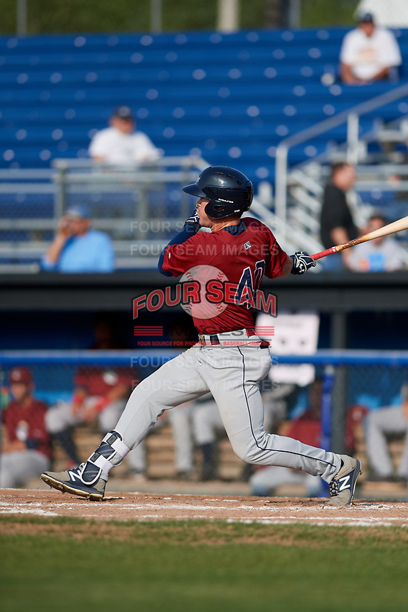 Mahoning Valley Scrappers center fielder Austen Wade (40) hits a single during the first game of a doubleheader against the Batavia Muckdogs on August 28, 2017 at Dwyer Stadium in Batavia, New York.  Mahoning Valley defeated Batavia 6-3.  (Mike Janes/Four Seam Images)