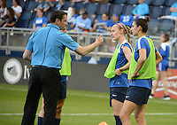 Kansas City, Kansas - Saturday April 16, 2016: FC Kansas City head coach Vlatko Andonovski talks to Becky Sauerbrunn and Yael Averbuch before the game against Western New York Flash at Children's Mercy Park. Western New York won 1-0.