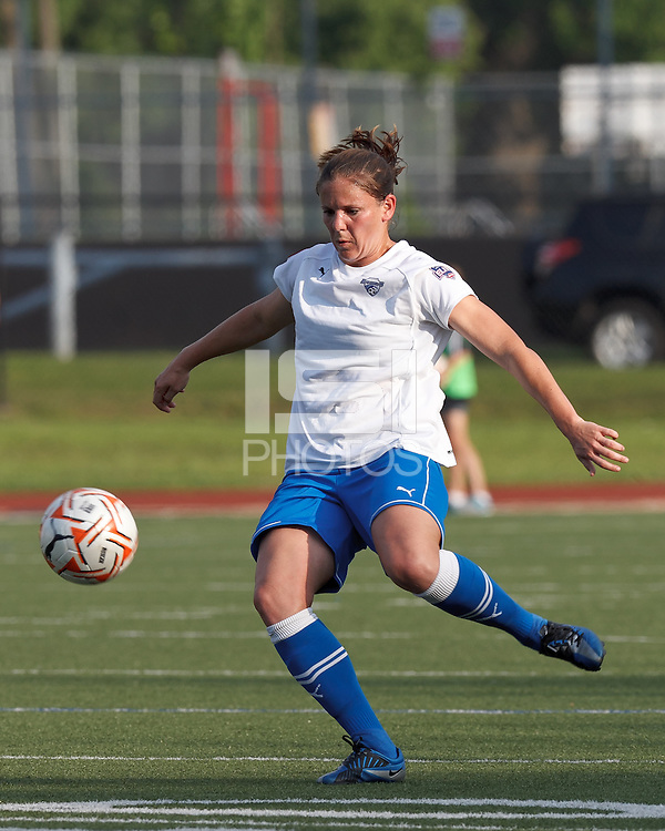 Boston Breakers defender Cat Whitehill (4) prepares to one-touch a pass. In a Women's Premier Soccer League Elite (WPSL) match, the Boston Breakers defeated Western New York Flash, 3-2, at Dilboy Stadium on May 26, 2012.