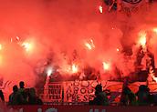 16th May 2018, Stade de Lyon, Lyon, France; Europa League football final, Marseille versus Atletico Madrid; Marseille fans light up flares before kick off