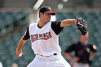 Rochester Red Wings pitcher Anthony Slama #38 delivers a pitch during a game against the Louisville Bats at Frontier Field on May 12, 2011 in Rochester, New York.  Louisville defeated Rochester 5-2.  Photo By Mike Janes/Four Seam Images