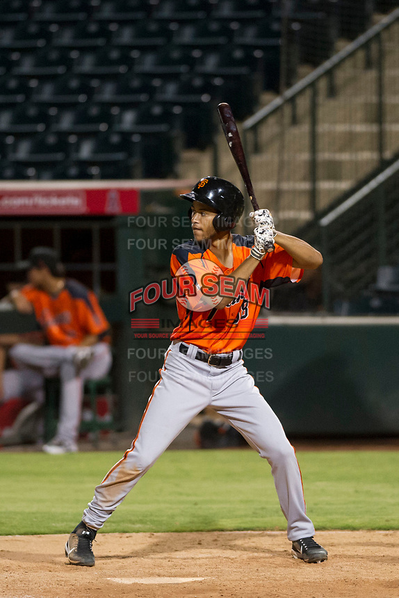 AZL Giants designated hitter Aaron Bond (38) bats during a game against the AZL Angels on July 9, 2017 at Diablo Stadium in Tempe, Arizona. AZL Giants defeated the AZL Angels 8-4. (Zachary Lucy/Four Seam Images)