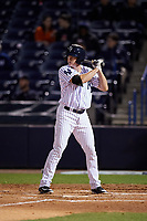 Tampa Yankees third baseman Kyle Holder (12) at bat during a game against the Lakeland Flying Tigers on April 7, 2017 at George M. Steinbrenner Field in Tampa, Florida.  Lakeland defeated Tampa 5-0.  (Mike Janes/Four Seam Images)