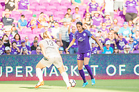 Orlando, FL - Sunday May 14, 2017: Abby Dahlkemper, Christina Burkenroad during a regular season National Women's Soccer League (NWSL) match between the Orlando Pride and the North Carolina Courage at Orlando City Stadium.