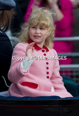 "LADY LOUISE - THE QUEEN'S FAVOURITE GRAND-DAUGHTER.Lady Louise the daughter of Prince Edward and Sophie, Duchess of Wessex appears to be the Queen's favourite grand-daughter..Watching the Queen with Lady Louise at recent events it definite looks so..It could be to do with the Lady Louise's resemblance to herself as a little girl, as can be seen from the photograph on the carriage ride.. The Trooping of Colour marks the official birthday of The Queen, London_11/06/2011.Mandatory Credit Photo: ©FRANCIS DIAS-DIASIMAGES..**ALL FEES PAYABLE TO: ""NEWSPIX INTERNATIONAL""**..IMMEDIATE CONFIRMATION OF USAGE REQUIRED:.DiasImages, 31a Chinnery Hill, Bishop's Stortford, ENGLAND CM23 3PS.Tel:+441279 324672  ; Fax: +441279656877.Mobile:  07775681153.e-mail: info@newspixinternational.co.uk"