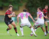 20120823 Copyright onEdition 2012©.Free for editorial use image, please credit: onEdition..Schalk Brits of Saracens faces up to Olivier August of Stade Francais Paris at The Honourable Artillery Company, London in the pre-season friendly between Saracens and Stade Francais Paris...For press contacts contact: Sam Feasey at brandRapport on M: +44 (0)7717 757114 E: SFeasey@brand-rapport.com..If you require a higher resolution image or you have any other onEdition photographic enquiries, please contact onEdition on 0845 900 2 900 or email info@onEdition.com.This image is copyright the onEdition 2012©..This image has been supplied by onEdition and must be credited onEdition. The author is asserting his full Moral rights in relation to the publication of this image. Rights for onward transmission of any image or file is not granted or implied. Changing or deleting Copyright information is illegal as specified in the Copyright, Design and Patents Act 1988. If you are in any way unsure of your right to publish this image please contact onEdition on 0845 900 2 900 or email info@onEdition.com