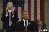 United States Vice President Joe Biden, left, applauds as U.S. resident Barack Obama gives his State of the Union address during a joint session of Congress on Capitol Hill in Washington, DC on February 12, 2013. Speaker of the U.S. House of Representatives John Boehner (Republican of Ohio) is at right.   .Credit: Charles Dharapak / Pool via CNP