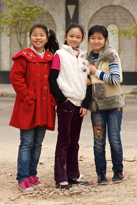 Three Confident Young Ladies, Shantou, China.