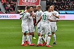 17.03.2019, BayArena, Leverkusen, GER, DFL, 1. BL, Bayer 04 Leverkusen vs SV Werder Bremen, DFL regulations prohibit any use of photographs as image sequences and/or quasi-video<br /> <br /> im Bild die Mannschaft von Werder Bremen Jubel / Freude / Emotion / Torjubel / Torschuetze zum 0:1 Max Kruse (#10, SV Werder Bremen) <br /> <br /> Foto © nph/Mauelshagen