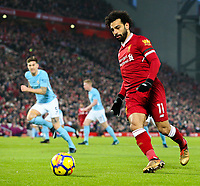 Liverpool's Mohamed Salah<br /> <br /> Photographer Alex Dodd/CameraSport<br /> <br /> The Premier League - Liverpool v Manchester City - Sunday 14th January 2018 - Anfield - Liverpool<br /> <br /> World Copyright &copy; 2018 CameraSport. All rights reserved. 43 Linden Ave. Countesthorpe. Leicester. England. LE8 5PG - Tel: +44 (0) 116 277 4147 - admin@camerasport.com - www.camerasport.com