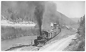 South facing view of K-27 #455 and #453 leaving Brown station with a northbound freight.<br /> RGS  Brown, CO  Taken by Kindig, Richard H. - 8/7/1951