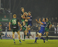 4th January 2014; Matt Healy, Connacht, in action against Jordi Murphy, Leinster. Rabodirect Pro12, Connacht v Leinster, Sportsground, Galway. Picture credit: Tommy Grealy/actionshots.ie.