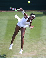 Venus Williams (USA) during her defeat by Kiki Bertens (NED) in their Ladies' Singles Third Round match<br /> <br /> Photographer Rob Newell/CameraSport<br /> <br /> Wimbledon Lawn Tennis Championships - Day 5 - Friday 6th July 2018 -  All England Lawn Tennis and Croquet Club - Wimbledon - London - England<br /> <br /> World Copyright &not;&copy; 2017 CameraSport. All rights reserved. 43 Linden Ave. Countesthorpe. Leicester. England. LE8 5PG - Tel: +44 (0) 116 277 4147 - admin@camerasport.com - www.camerasport.com