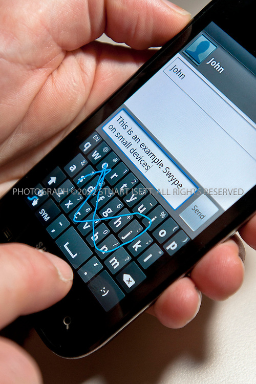 6/17/2010--Seattle, WA, USA.Swype is demonstrated on a Samsung smart phone..Cliff Kushler, the original inventor of predictive texting technology, has created a new method of inputting text on a touchscreen by dragging a finger across a touch keyboard called Swype. He hopes it will become the default way to type on a touchscreen. By the end of this year, 10 million devices on all four US carriers are slated to have the Swype technology and the company is expanding to Asia, Europe and South America. ....©2010 Stuart Isett. All rights reserved.