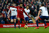9th February 2019, Anfield, Liverpool, England; EPL Premier League football, Liverpool versus AFC Bournemouth; Mohamed Salah of Liverpool runs at Steve Cook of Bournemouth as Simon Francis and Nathan Ake trail behind