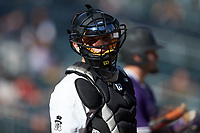 Wake Forest Demon Deacons catcher Brendan Tinsman (9) looks to the dugout during the game against the Furman Paladins at BB&T BallPark on March 2, 2019 in Charlotte, North Carolina. The Demon Deacons defeated the Paladins 13-7. (Brian Westerholt/Four Seam Images)
