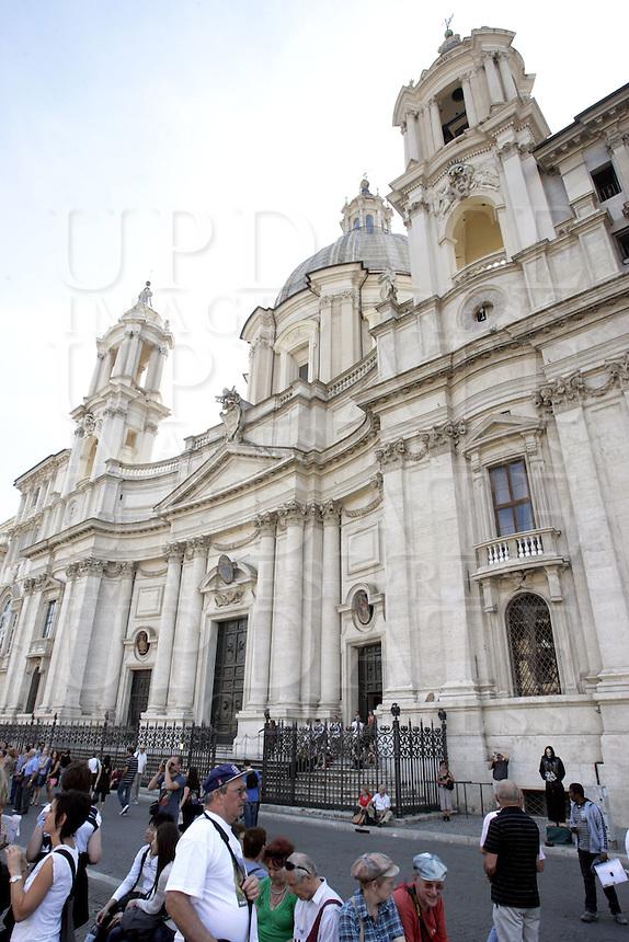 La chiesa di Sant'Agnese in Agone, in Piazza Navona, a Roma.<br /> The church of Sant'Agnese in Agone, in Piazza Navona, Rome.<br /> UPDATE IMAGES PRESS/Riccardo De Luca