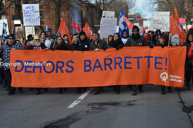 Manifestation organisee par Quebec Solidaire pour la demission du ministre Barrette, le 24 F&eacute;vrier 2018, au parc Emilie-Gamelin<br /> <br /> PHOTO : agence quebec presse