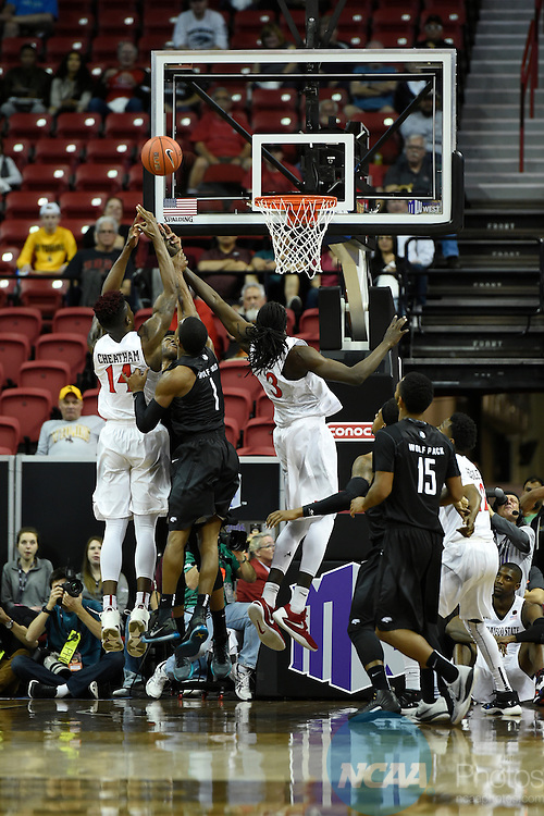 11 MAR 2016: San Diego State University takes on University of Nevada during the 2016 Mountain West Conference Men's Basketball Championship at the Thomas & Mack Center in Las Vegas, NV. Steve Nowland/NCAA Photos