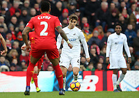 Tom Carroll of Swansea City in action during the Premier League match between Liverpool and Swansea City at Anfield, Liverpool, Merseyside, England, UK. Saturday 21 January 2017