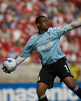 KC Wizards' goalie Bo Oshoniyi throws the ball at Pizza Hut Park on Sunday April 23, 2006. Dallas beat Kansas City 2-1.