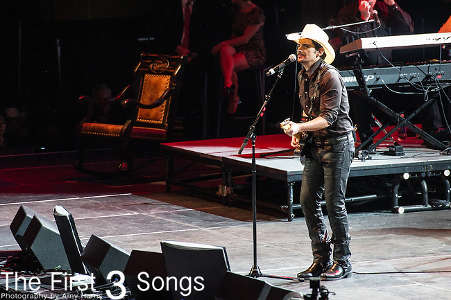 "Brad Paisley performs at the George Jones Tribute Concert ""Playin' Possum: The Final No Show"" at Bridgestone Arena in Nashville, TN"