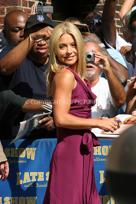 WWW.ACEPIXS.COM . . . . . ....August 5 2008, New York City....TV Personality Kelly Ripa made an appearance at the 'Late Show with David Letterman' at the Ed Sullivan Theatre on August 5 2008 in New York City....Please byline: NANCY RIVERA - ACEPIXS.COM.. . . . . . ..Ace Pictures, Inc:  ..(646) 769 0430..e-mail: info@acepixs.com..web: http://www.acepixs.com