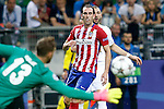 Real Madrid's Karim Benzema (r) and Atletico de Madrid's Jan Oblak (l) and Diego Godin during UEFA Champions League 2015/2016 Final match.May 28,2016. (ALTERPHOTOS/Acero)