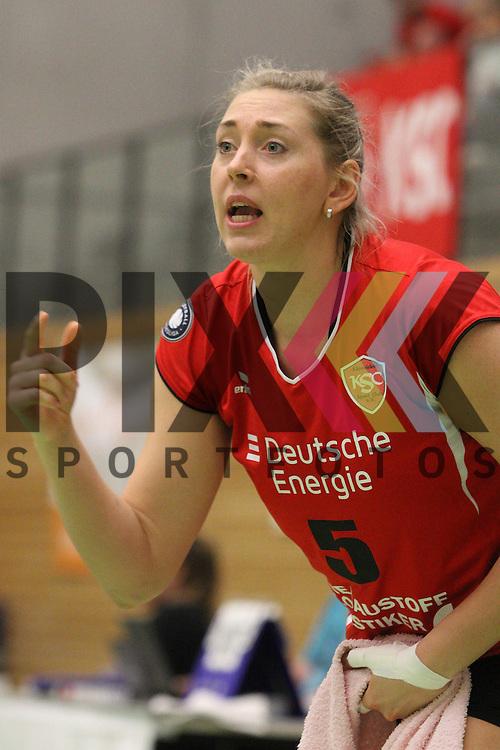 Koepenicks Dominice Steffen  beim Spiel in der Volleyball Frauen 1. Bundesliga Koepenicker SC Berlin  - Allianz MTV Stuttgart .<br /> <br /> Foto &copy; PIX-Sportfotos *** Foto ist honorarpflichtig! *** Auf Anfrage in hoeherer Qualitaet/Aufloesung. Belegexemplar erbeten. Veroeffentlichung ausschliesslich fuer journalistisch-publizistische Zwecke. For editorial use only.
