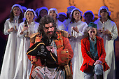 """London, UK. 7 May 2015. Joshua Bloom as The Pirate King. Dress rehearsal of the Gilbert and Sullivan comic opera """"The Pirates of Penzance"""" at the London Coliseum. Award winning director Mike Leigh makes his operatic directing debut with The Pirates of Penzance. The ENO production opens at the London Coliseum on 9 May 2015 and runs for 14 productions until 27 June 2015. The English National Opera production is conducted by David Parry. Cast: Andrew Shore as Major-General Stanley, Joshua Bloom as The Pirate King, Alexander Robin Baker as Samuel, Robert Murray as Frederic, the Pirate Apprentice, Jonathan Lemalu as Sergeant of the Police, Claudia Boyle as Mabel, Soraya Mafi as Edith, Angharad Lyddon as Kate, Lydia Marchione as Isabel and Rebecca de Pont Davies as Ruth. Photo: Bettina Strenske"""