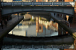 Reflections in canal at Brindleyplace development Birmingham England