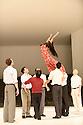 Tanztheater Wuppertal Pina Bausch presents MASURCA FOGO, at Sadlers Wells. The company comprises: Regina Advento, Pau Aran Gimeno, Emma Barrowman, Rainer Behr, Andrey Berezin, Michael Carter, Cagdas Ermis, Silvia Farias-Heredia, Jonathan Fredrickson, Ditta Miranda Jasjfi, Daphnis Kokkinos, Cristiana Morganti, Breanna O'Mara, Nazareth Panadero, Julie Shanahan, Oleg Stepanov, Julian Stierle, Fernando Suels Mendoza, Aida Vainieri, Ophelia Young. Picture shows: Silvia Farias-Heredia and the company