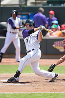 Jeremy Dowdy (21) of the Winston-Salem Dash follows through on his swing against the Salem Red Sox at BB&T Ballpark on May 31, 2015 in Winston-Salem, North Carolina.  The Red Sox defeated the Dash 6-5.  (Brian Westerholt/Four Seam Images)