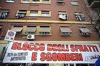 Roma, 18 Gennaio 2011.via Alberto da Giussano.Acion organizza un picchetto contro gli stfratti, riiniziati a roma dopo il blocco