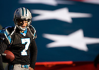 Carolina Panthers punter Jason Baker (7) against the Detroit Lions during an NFL football game at Bank of America Stadium in Charlotte, NC.