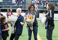 Seattle, WA - Saturday July 16, 2016: Megan Rapinoe, Hope Solo, Lesle Gallimore prior to a regular season National Women's Soccer League (NWSL) match between the Seattle Reign FC and the Western New York Flash at Memorial Stadium.