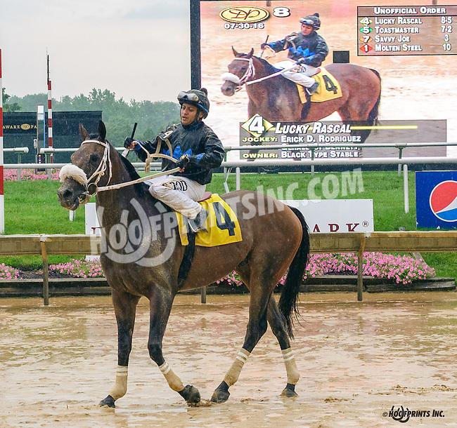 Lucky Rascal winning at Delaware Park on 7/30/16