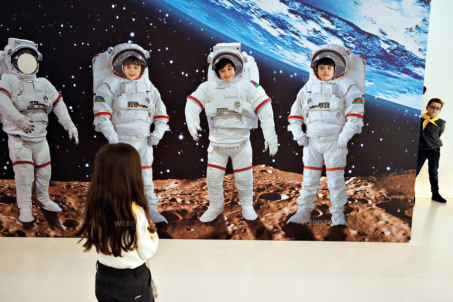 Azerbaijan, Baku, Heydar Aliyev Center, February 8, 2014<br /> The world premiere of the &ldquo;Cradle to Cosmos&rdquo; exhibition held at the Heydar Aliyev Center by the United States Space and Rocket Center. School children take a fieldtrip to learn about the history of the conquest of space. The exhibition displayed 